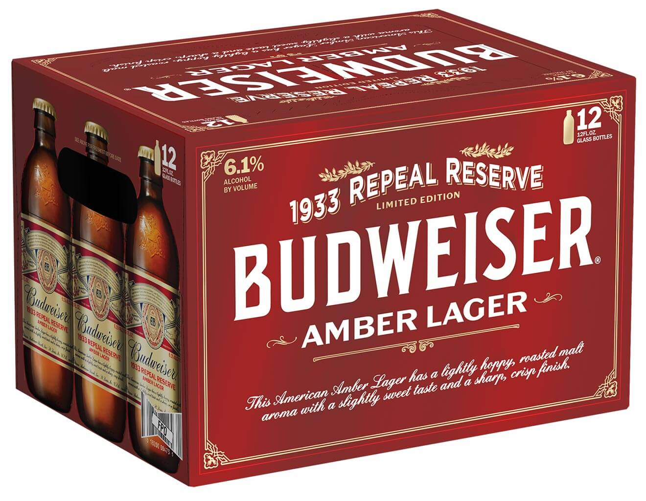 Budweiser 1933 Repeal Reserve Amber Lager Case, package on white
