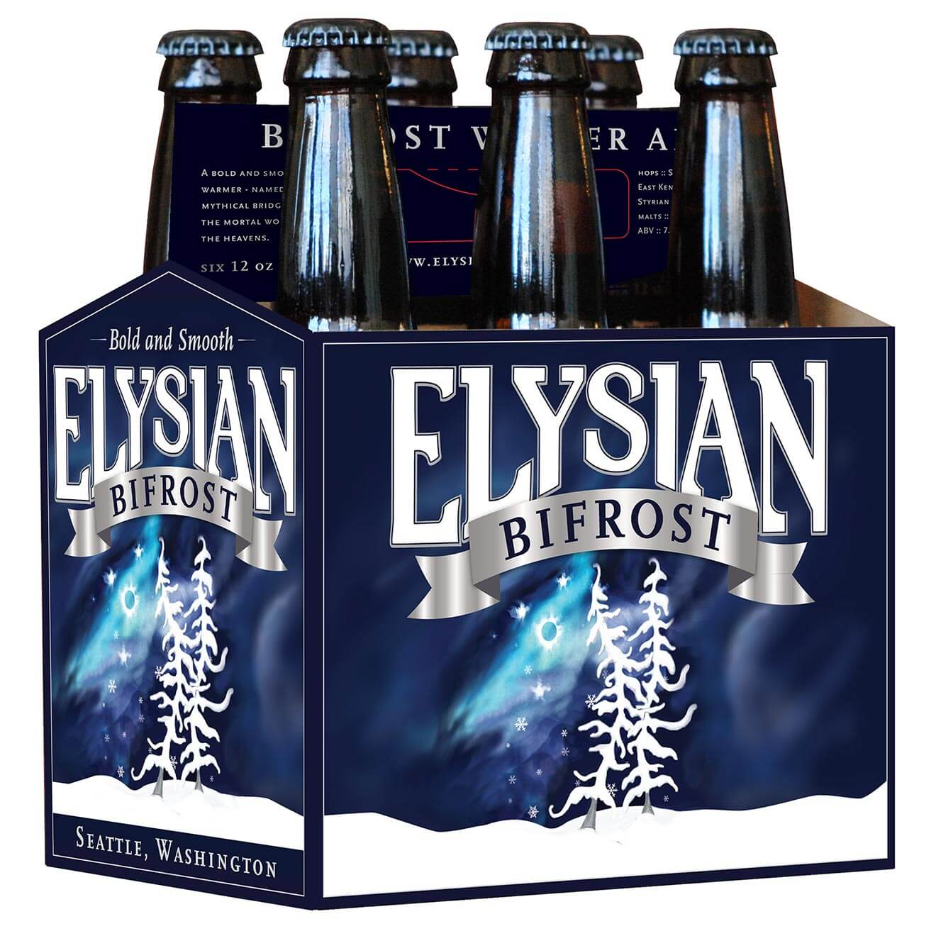 Elysian's Winter Seasonal Bifrost 6 Pack, package on white
