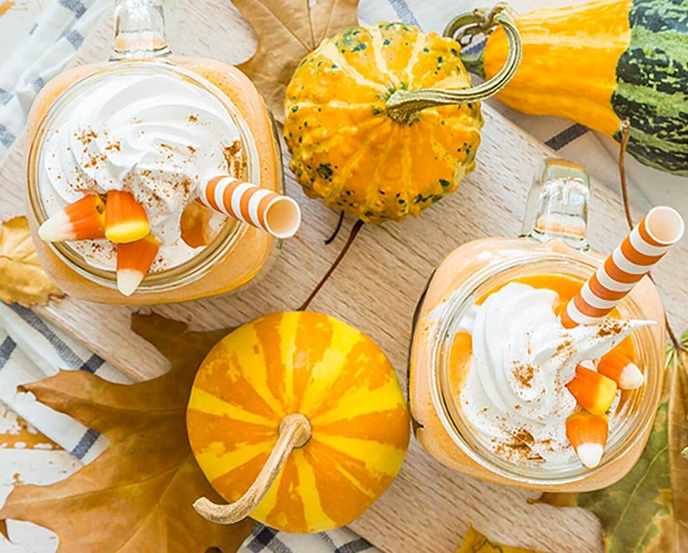 Jack Fire O Lantern Pudding Shots, pumpkin backdrop