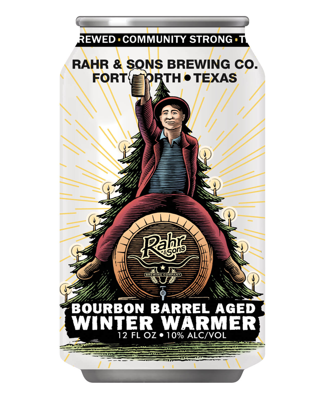 Rahr & Sons Brewing Co. Releases Bourbon Barrel Aged Winter Warmer Aged in Jack Daniel's Barrels, can on white