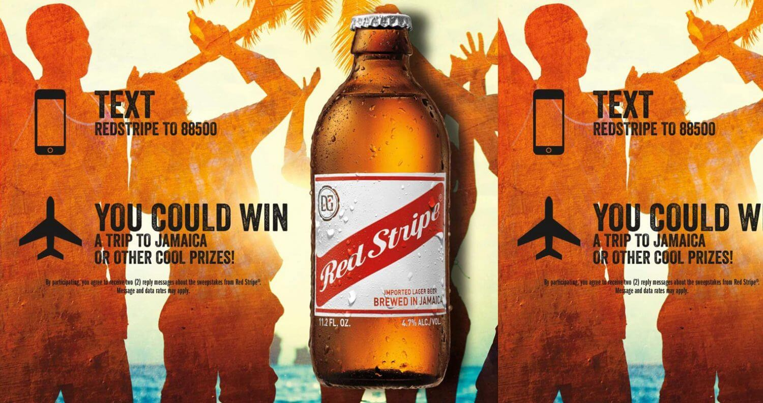 red stripe 'skip winter, fly away for spring break' contest poster, featured image
