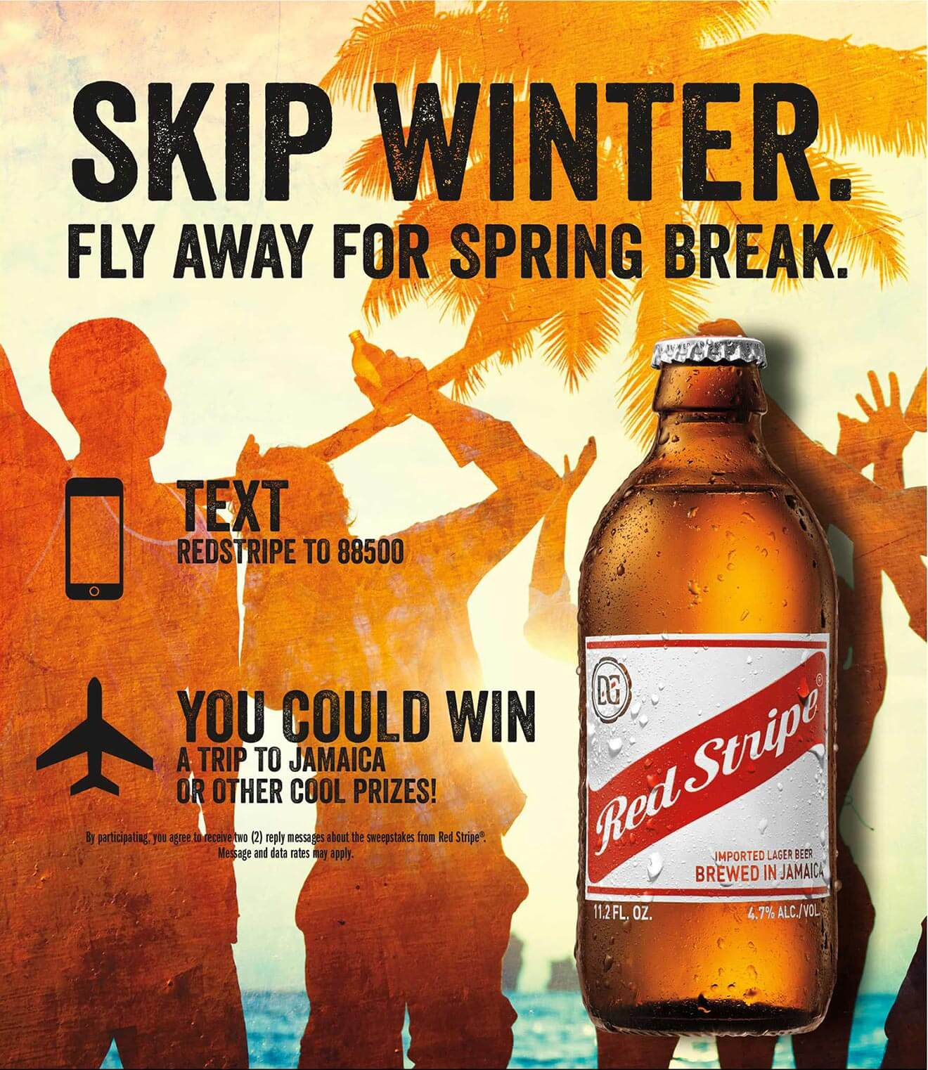 red stripe 'skip winter, fly away for spring break' contest poster