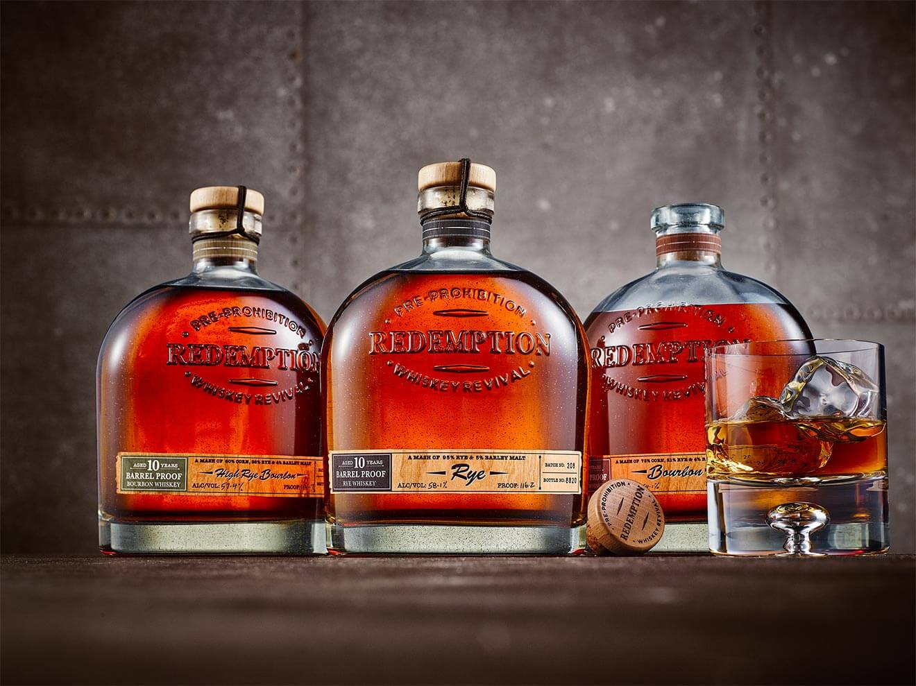 Redemption Whiskey Limited-Edition Aged Barrel Proof Selections, bottles and rocks glass