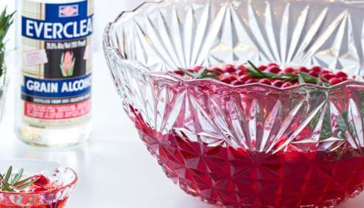 Everclear Sparkling Cranberry Rosemary Punch