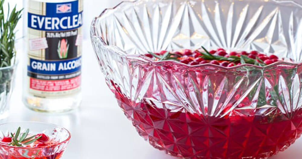 Everclear Sparkling Cranberry Rosemary Punch, featured image
