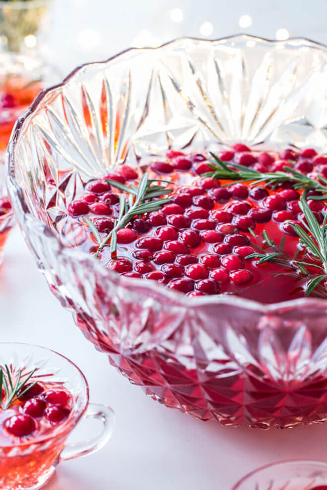 Sparkling Cranberry Rosemary Punch, serving bowl and cocktails