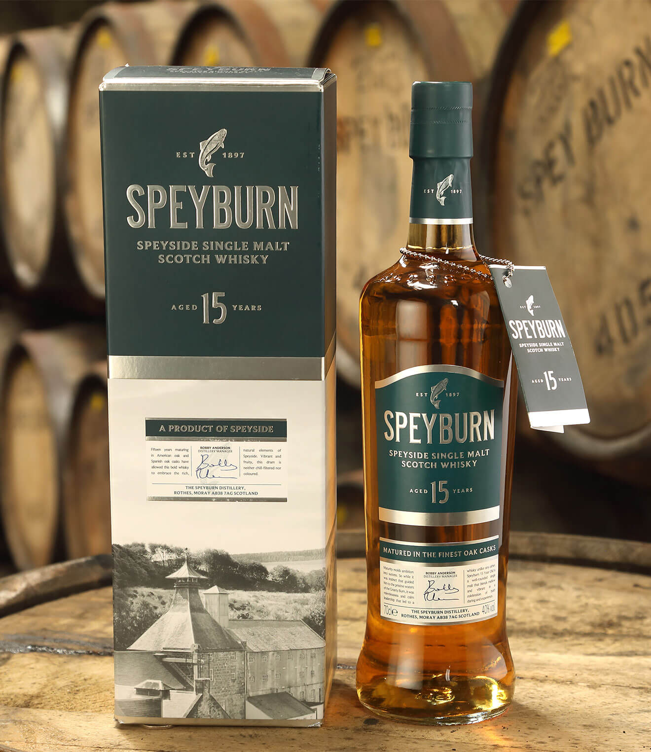 Speyburn Single Malt Scotch Whisky 15 Years Old, bottle, package and barrels