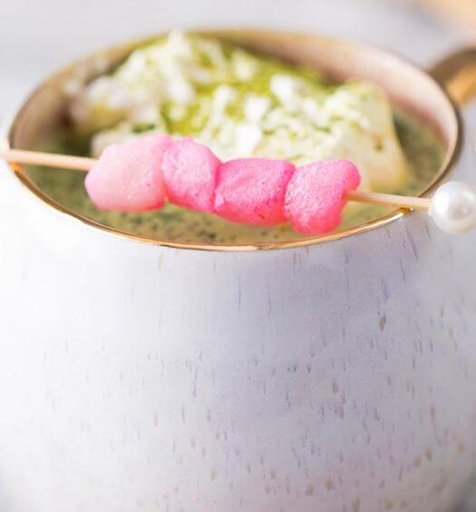 Matcha Hot Chocolate, in mug with marshmallow garnish, featured image