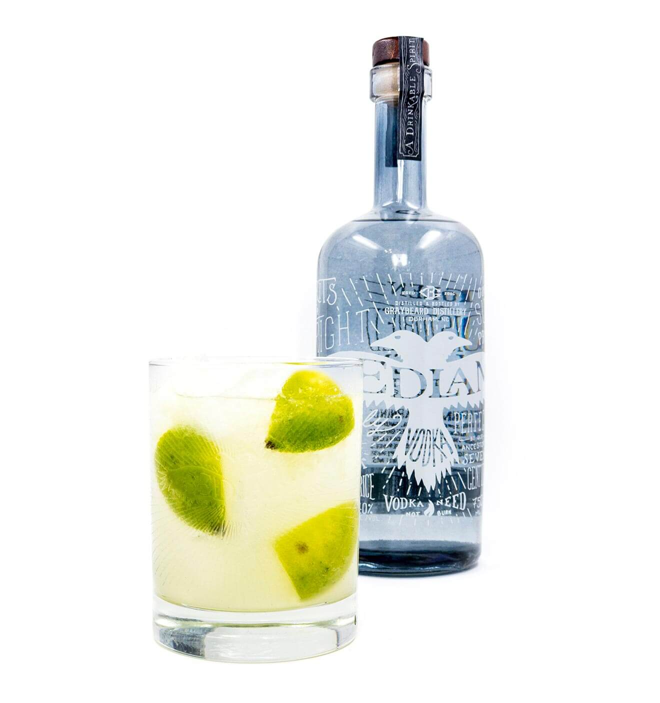 Bedlam Caipiroska, with cocktail and bottle on white