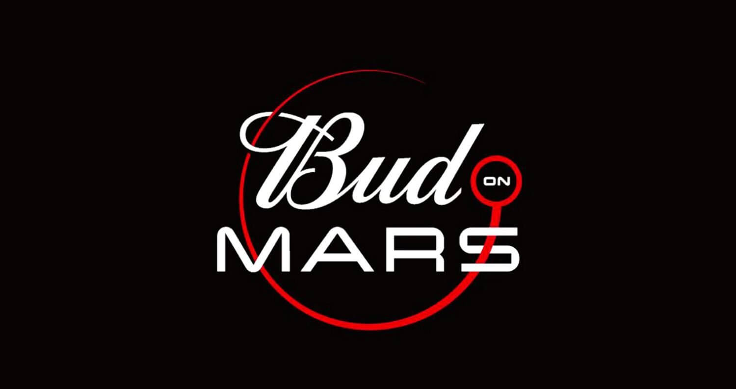 Budweiser First Beer on Mars, logo on black, featured image