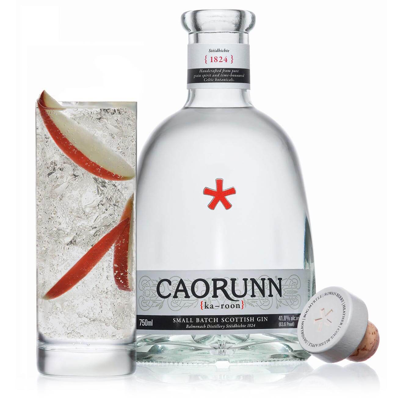 Caorunn + Tonic Perfect Serve, bottle and glass on white