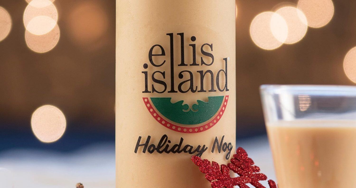 Ellis Island's Holiday Nog Now Available, holiday background, bottle and glass, featured image