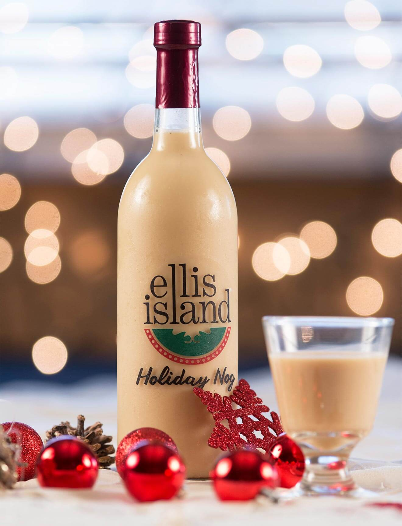 Ellis Island's Holiday Nog Now Available, holiday background, bottle and glass