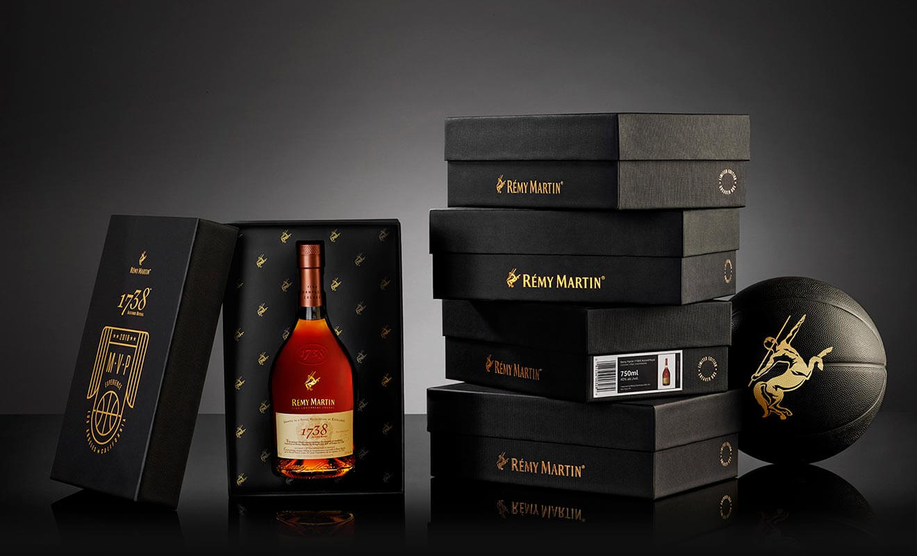 Rémy Martin 1738 Sneaker Box Gift Set, dark background with shadow