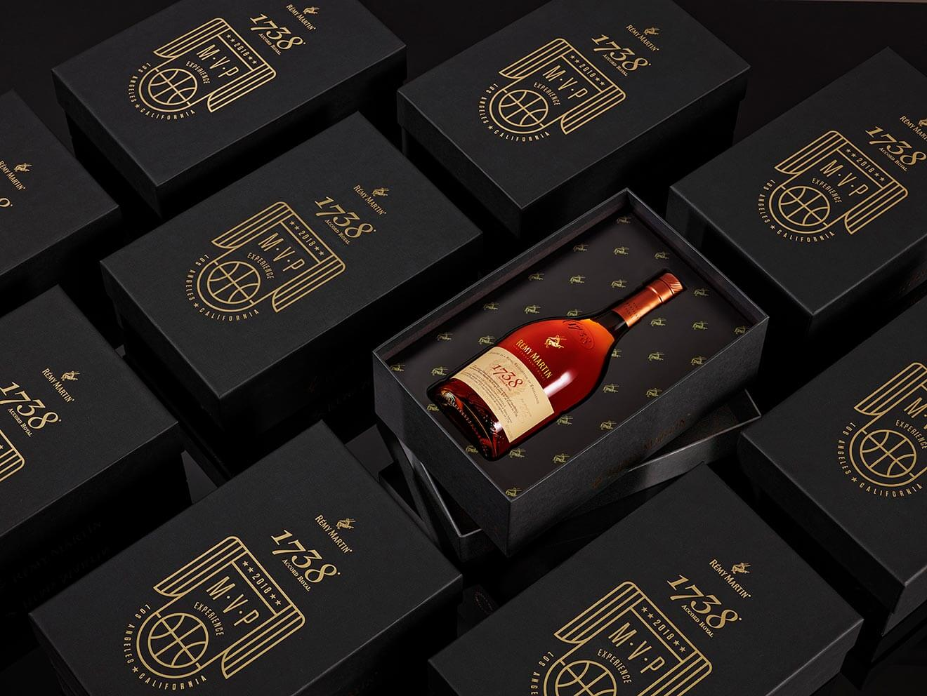 Rémy Martin 1738 Sneaker Box Gift Set, overhead view at angle