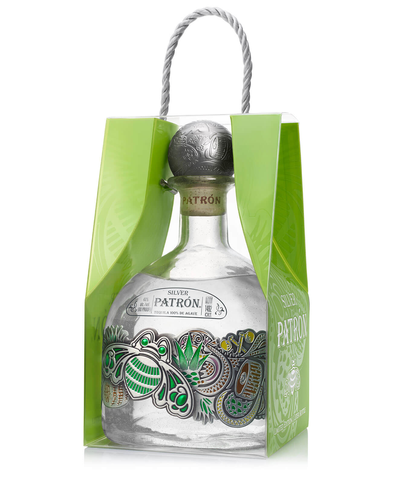 Patrón Silver One-Liter Limited-Edition Bottle, with package on white