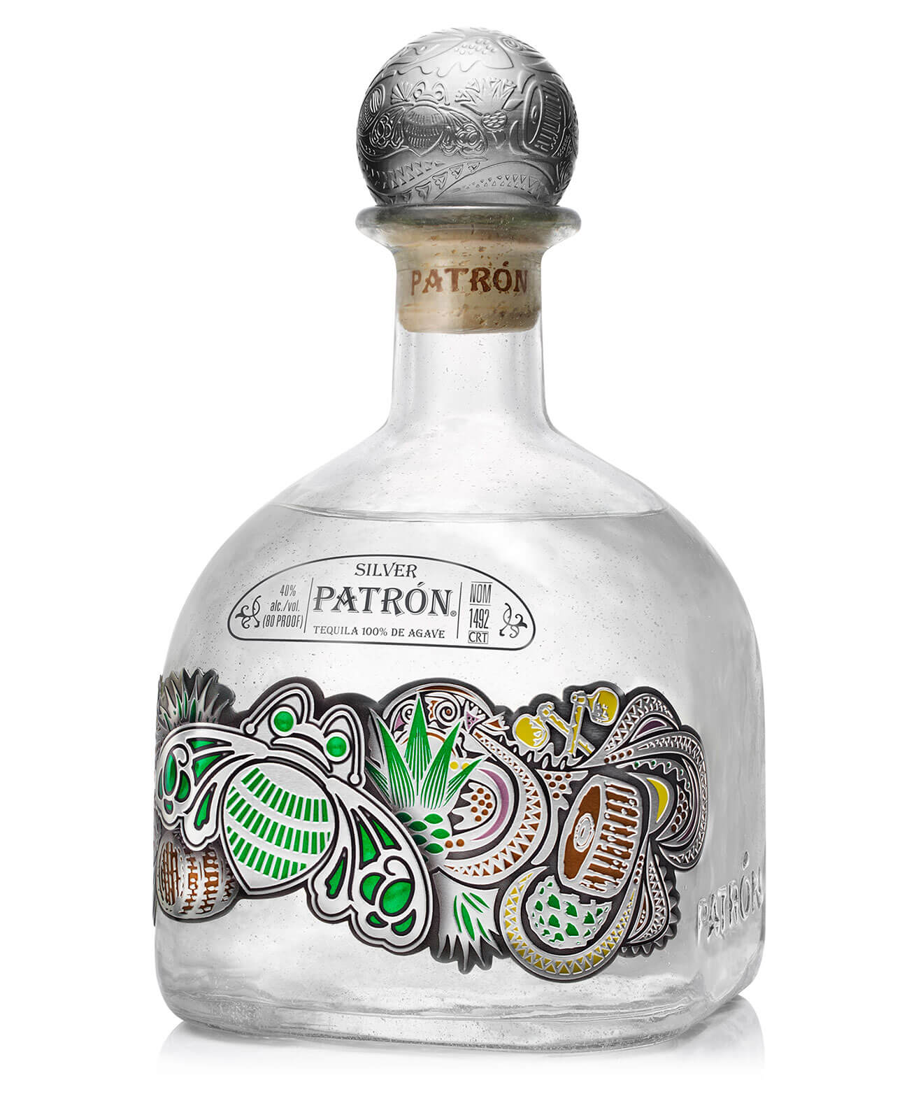 Patrón Silver One-Liter Limited-Edition Bottle on white