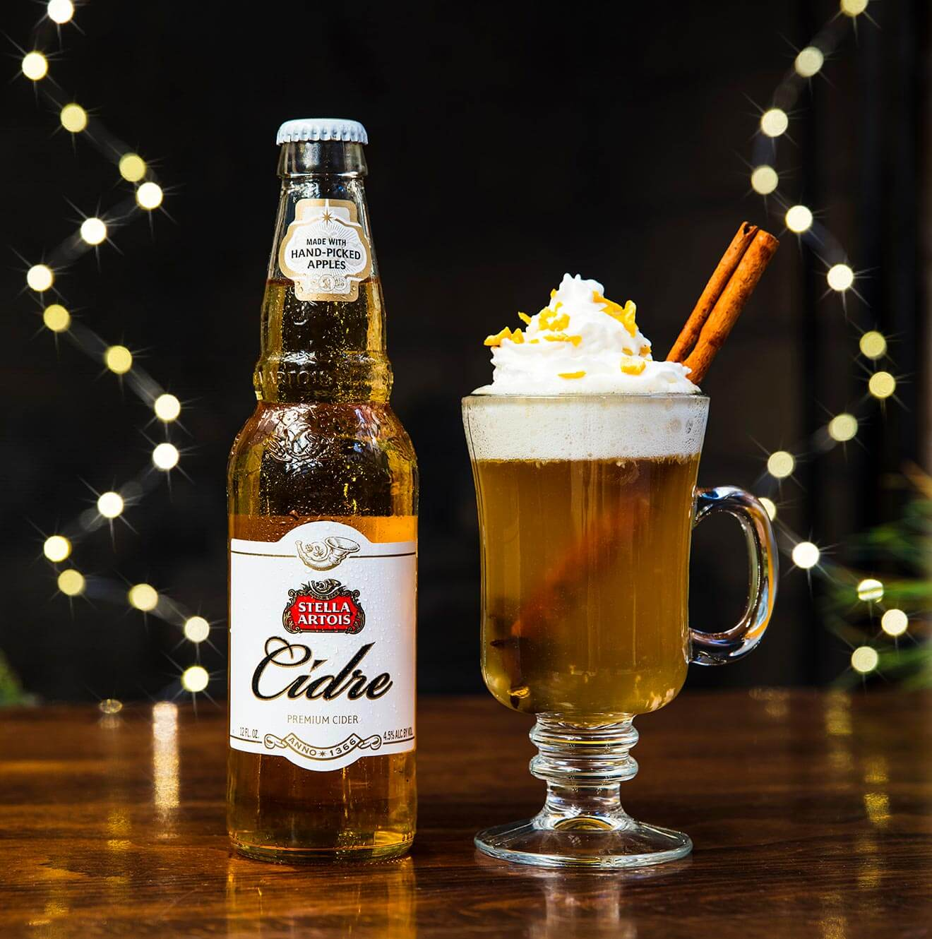 Stella Artois Warm Apple Cidre, bottle and glass