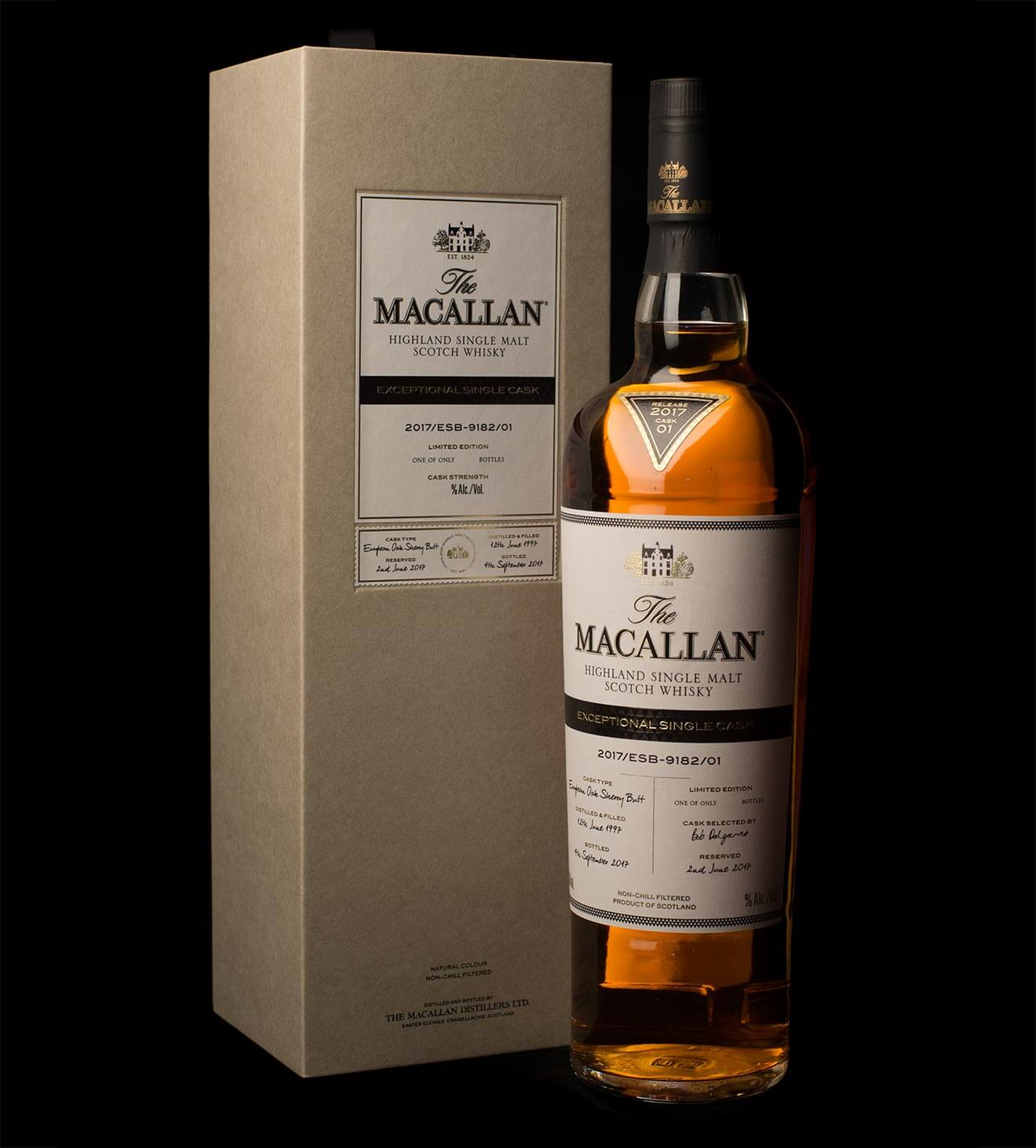 The Macallan Releases Exceptional Single Cask Range, bottle and packing on black