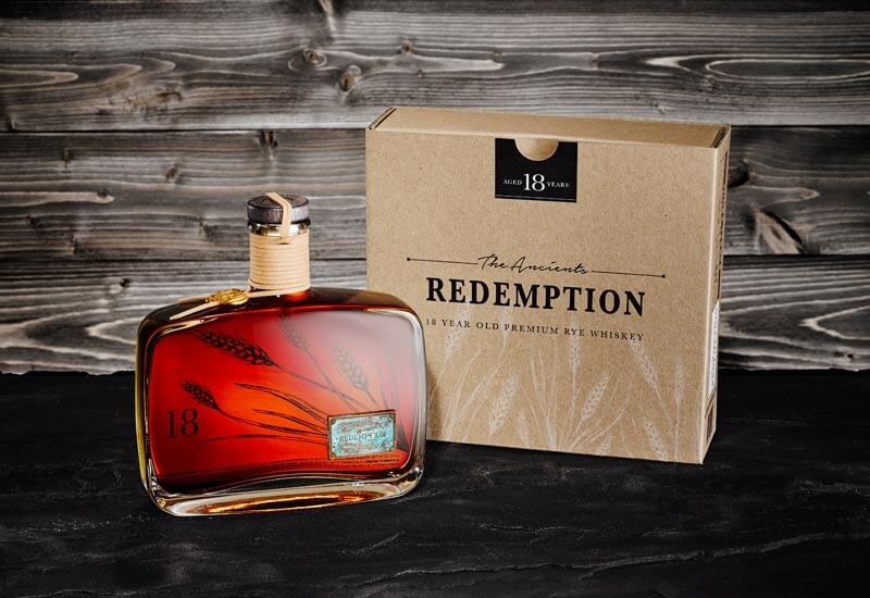 Redemption 18-Year-Old Rye, bottle and packaging