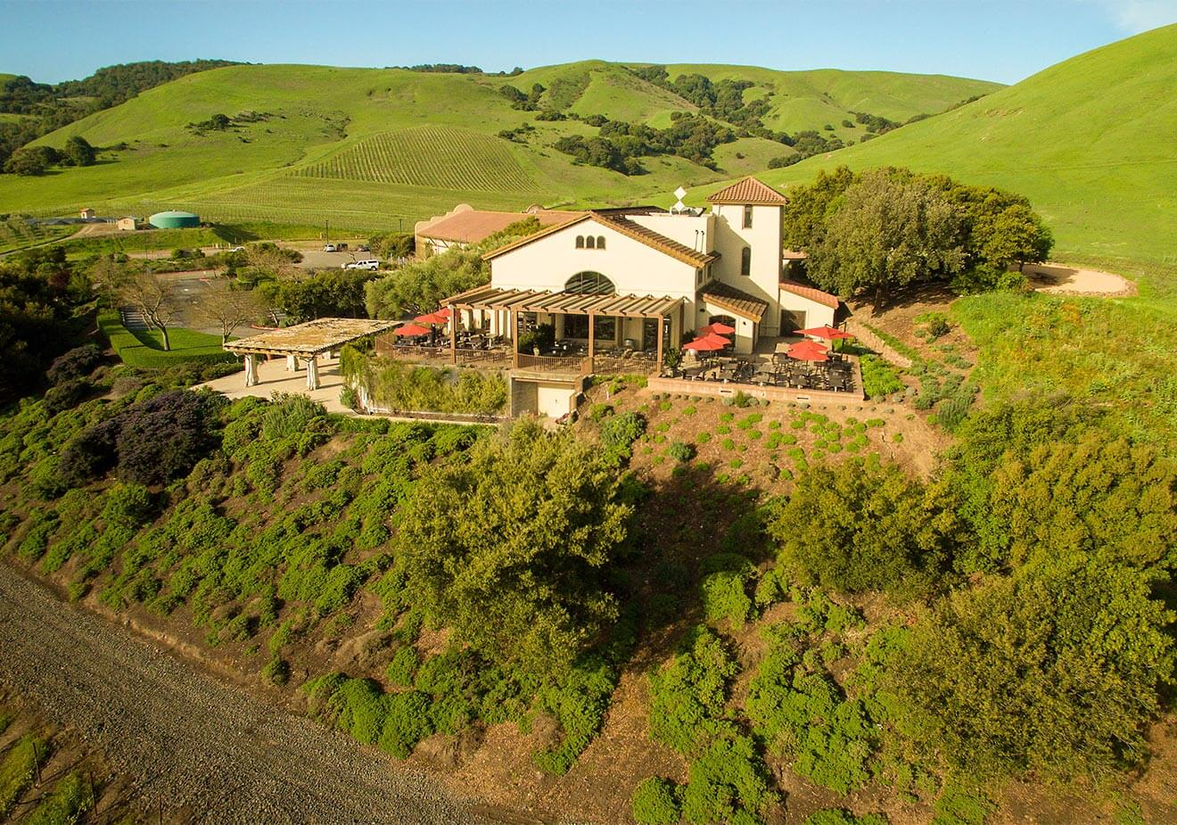 Gloria Ferrer Caves & Vineyards , aerial view