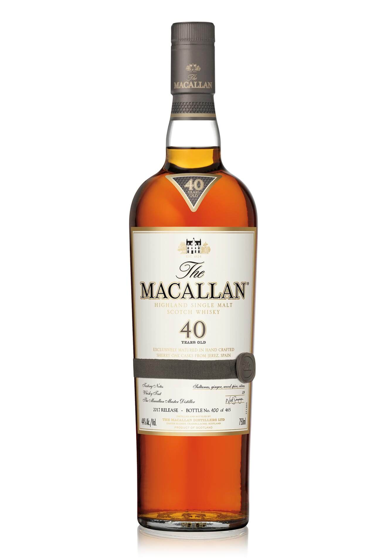 The Macallan Sherry Oak 40 Years Old Rare Single Malt, bottle on white