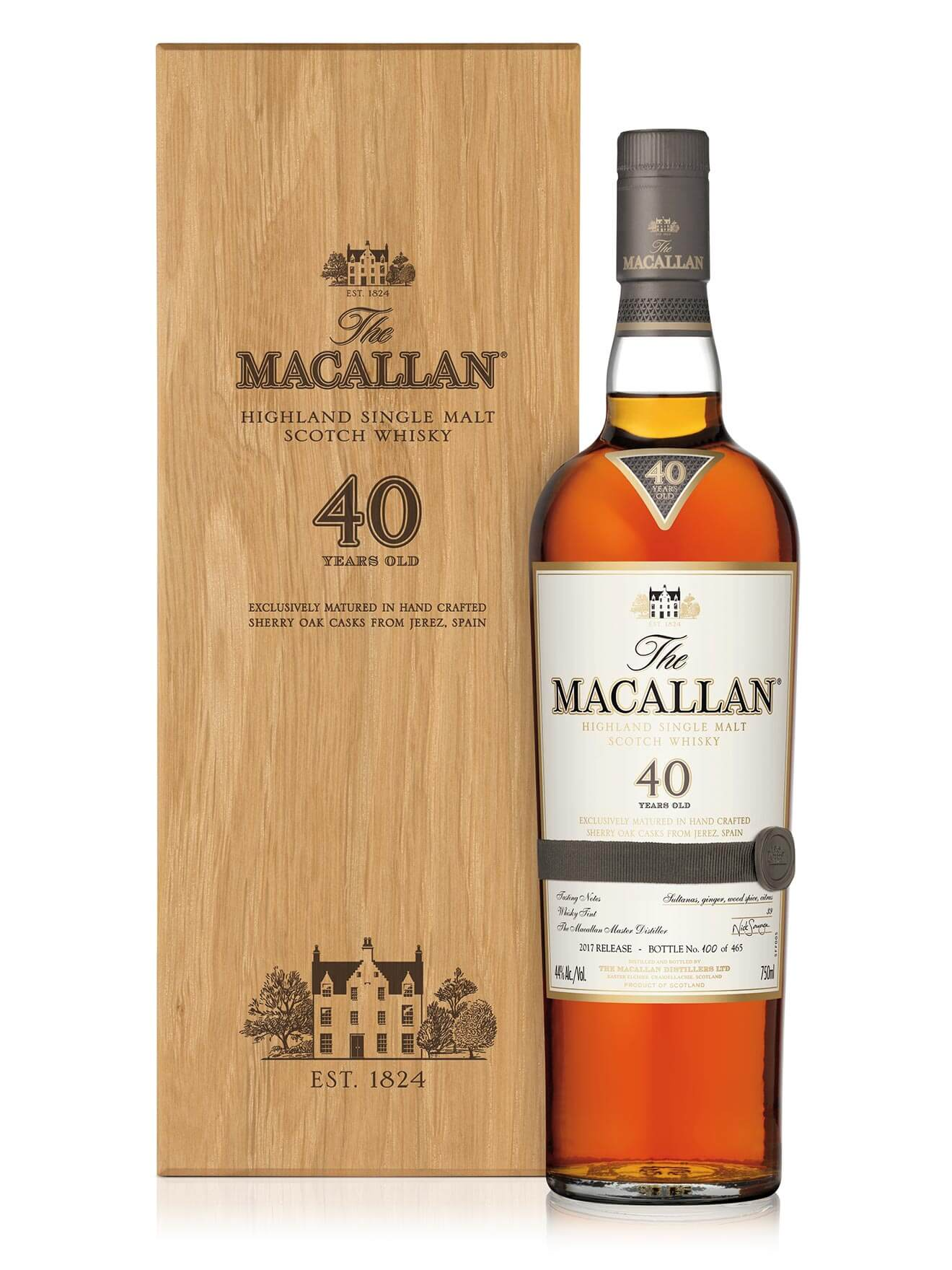 The Macallan Sherry Oak 40 Years Old Rare Single Malt, bottle and package on white