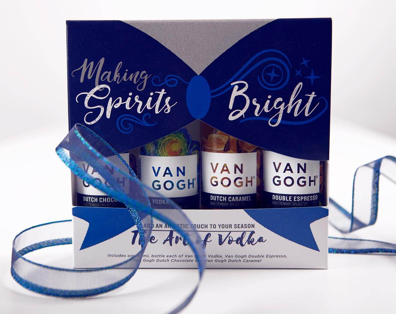 'Making Spirits Bright' Holiday Collection, packaging with ribbon on white