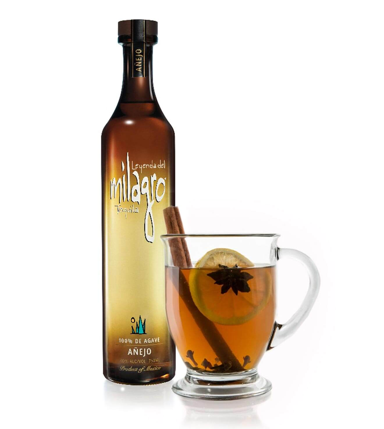 Milagro Hot Toddy cocktail with bottle