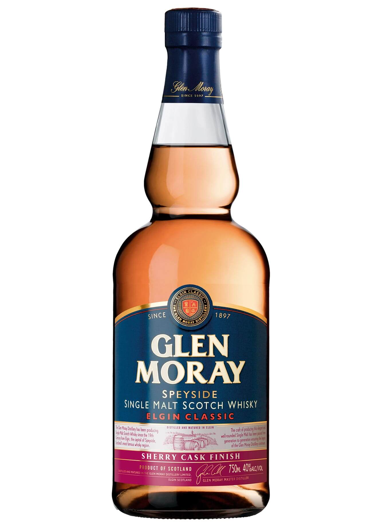 Glen Moray Classic Sherry Cask Finish, bottle on white