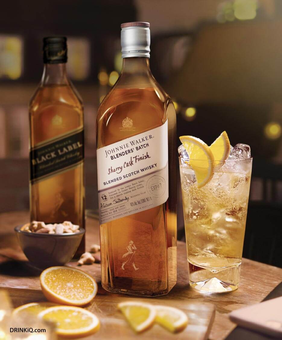 Johnnie Walker Blenders' Batch Sherry Cask Finish, bottle, and cocktail, lemon garnish