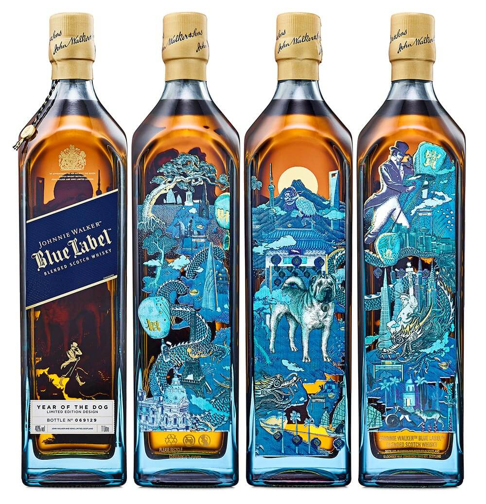 Johnnie Walker Blue Label Year of the Dog, bottle side views 360, on white