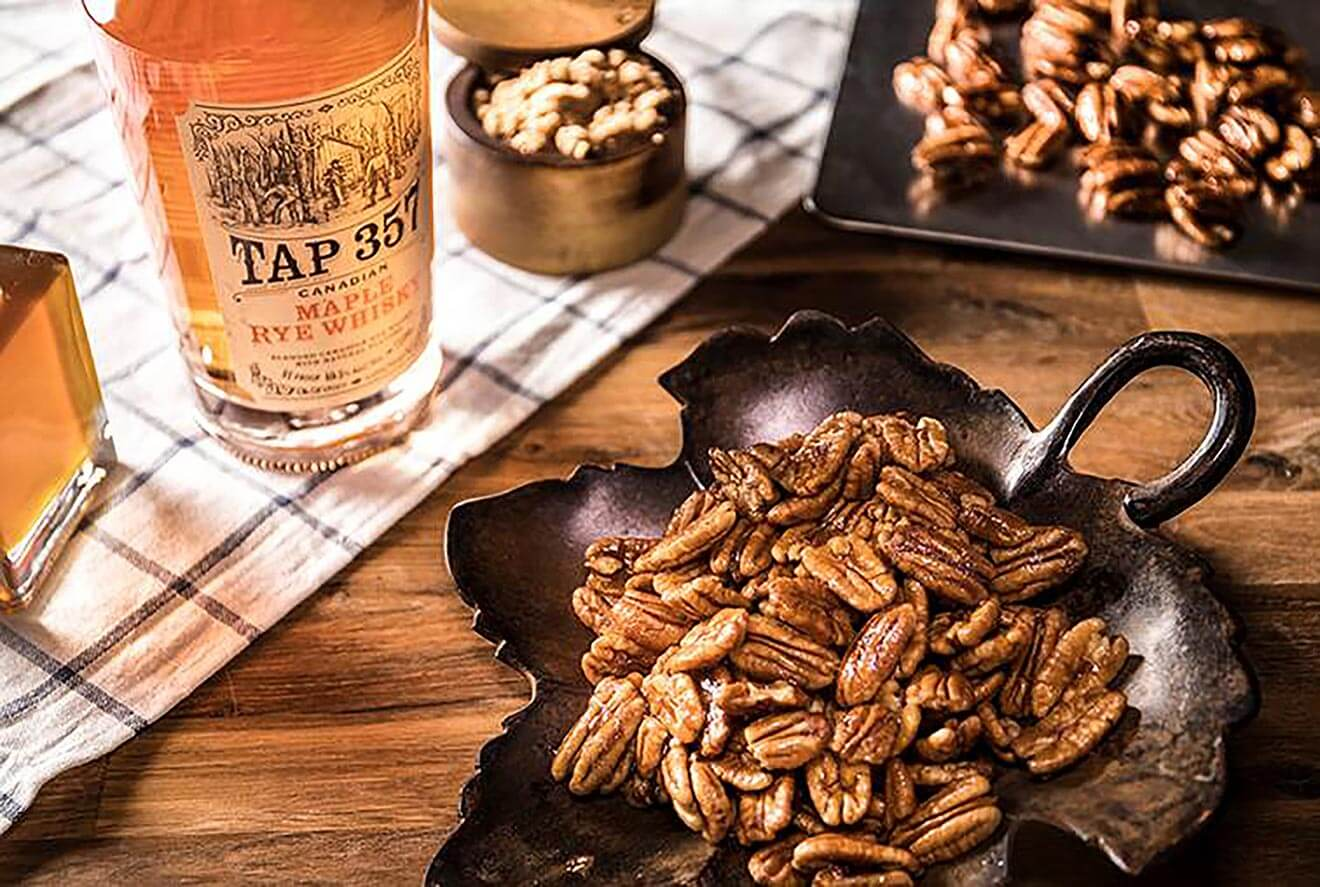 Tap 357 Maple Whisky Pecans, bottle and serving tray