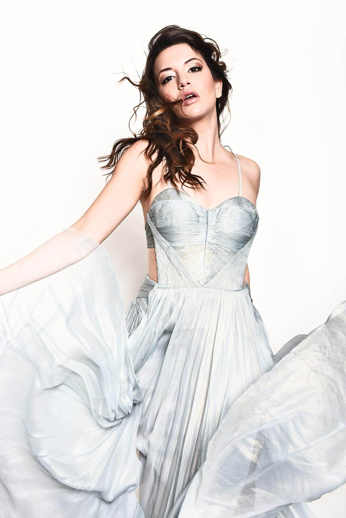 Chillin' with Masiela Lusha, beautiful silver flowing dress on white