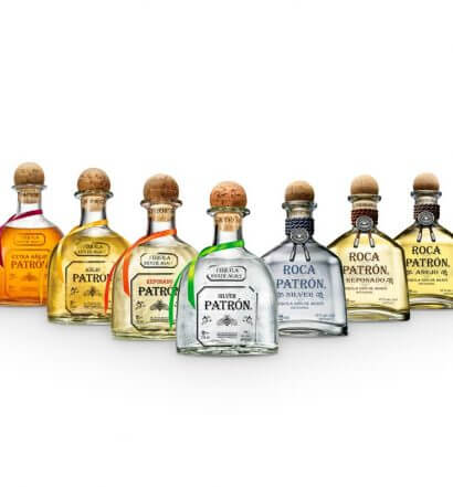 Patrón Portfolio, bottles fleet on white background