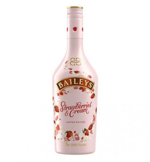 Baileys Strawberries & Cream, bottle on white, featured image