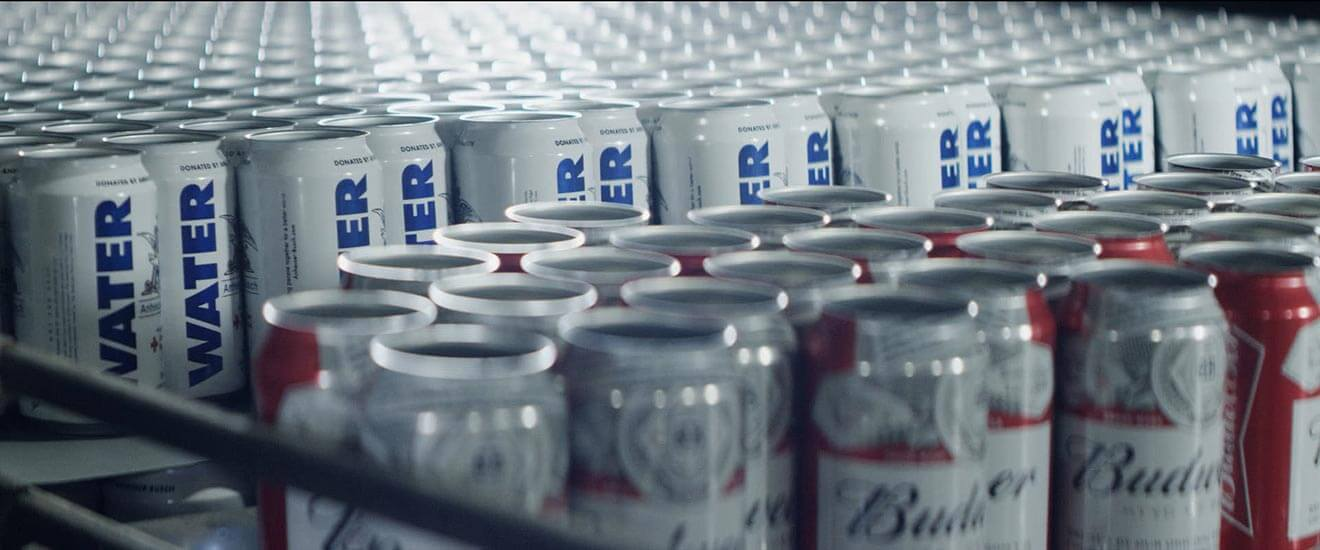 Budweiser Cans and Water