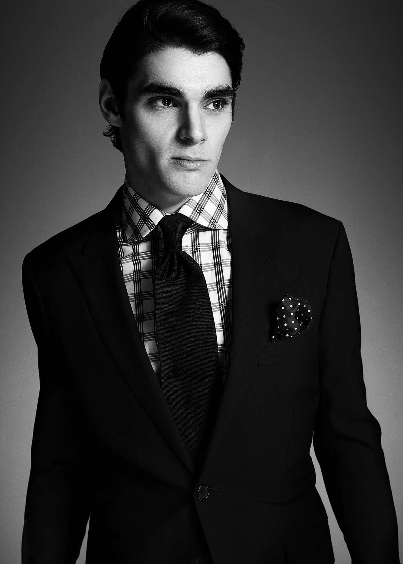 Chillin' with RJ Mitte, serious, front pose, tux