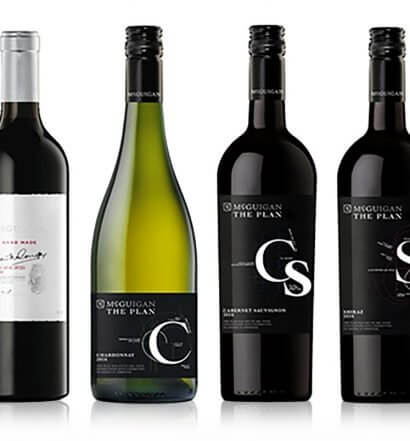 McGuigan Wines selections, bottles on white, featured image