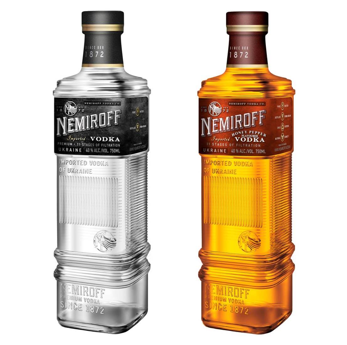 Nemiroff Original and Honey Pepper Vodka, bottles on white