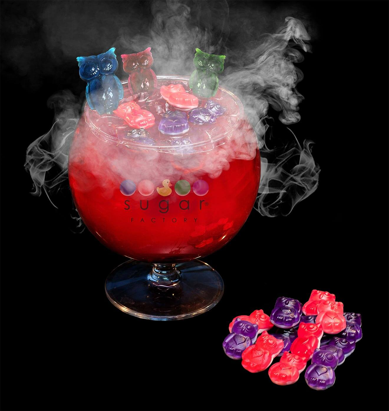 Night Owl Goblet, bowl cocktail with smoke on black