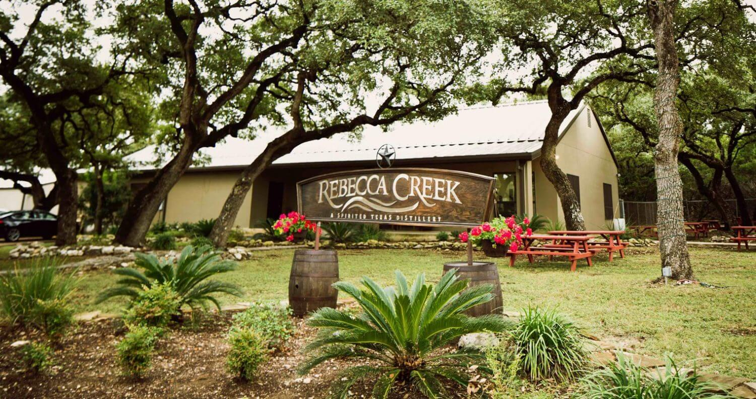 Rebecca Creek Distillery Tasting Room, outside front entrance, featured image