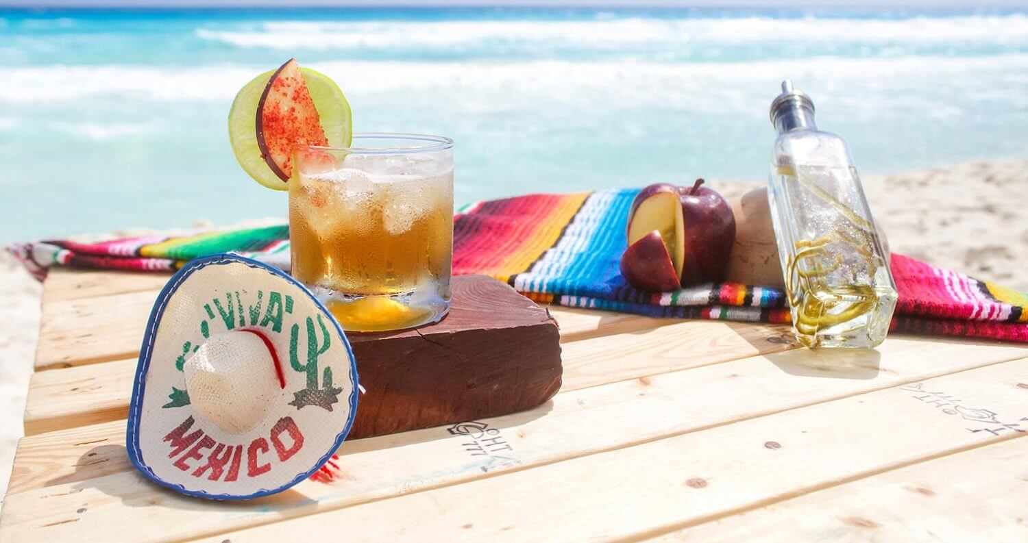 Spicy Apple Margarita, featured image, beach scene
