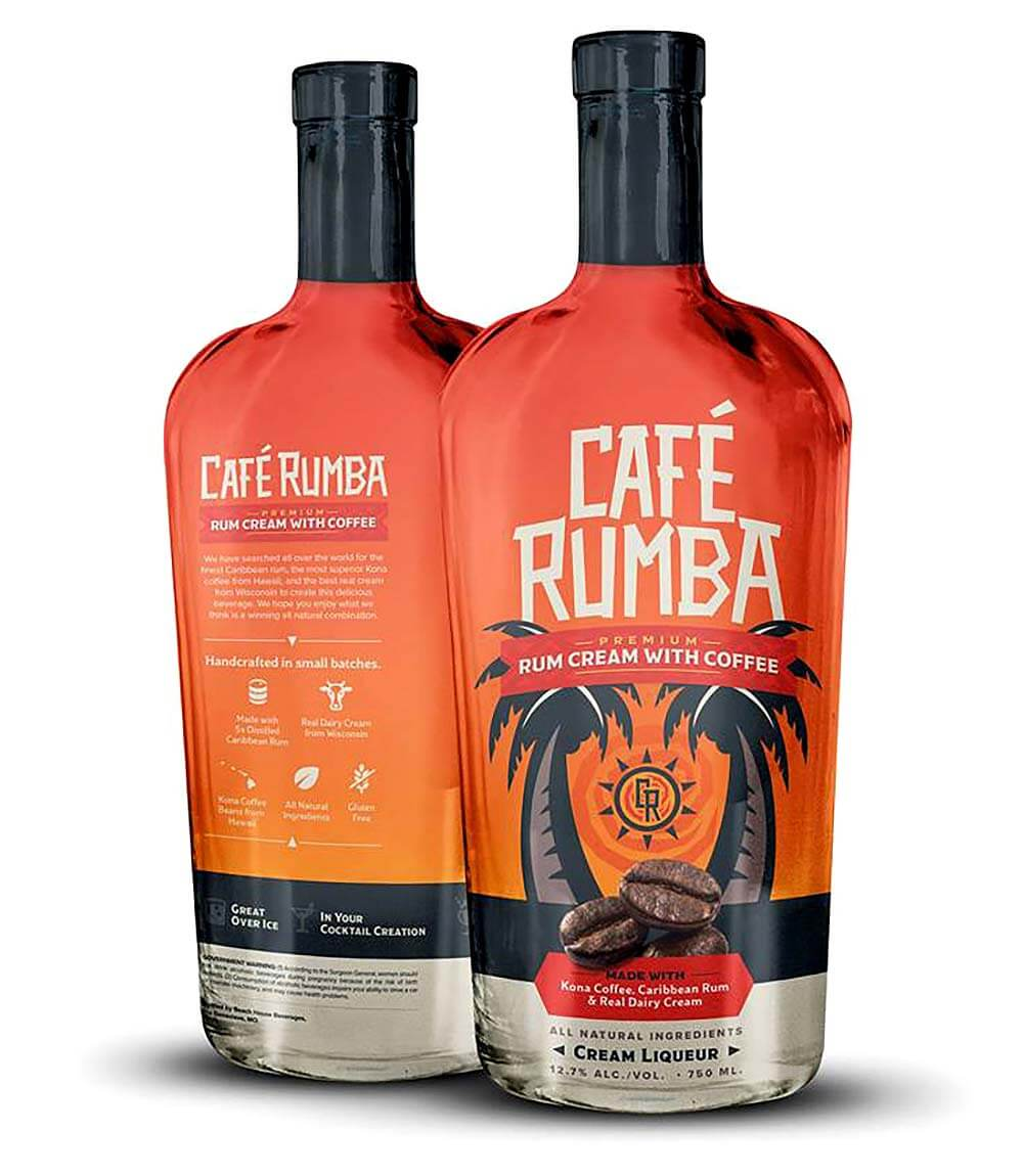 Café Rumba Rum Cream with Coffee, bottles on white