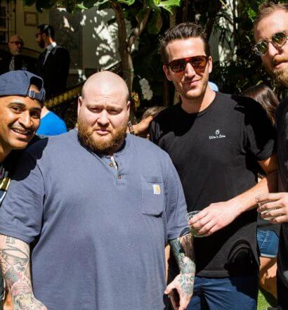From-left,-Chef-JJ-Johnson,-Action-Bronson,-and-Wine-N-Dine-co-founders-Joshua-Stern-and-Adam-Cooper