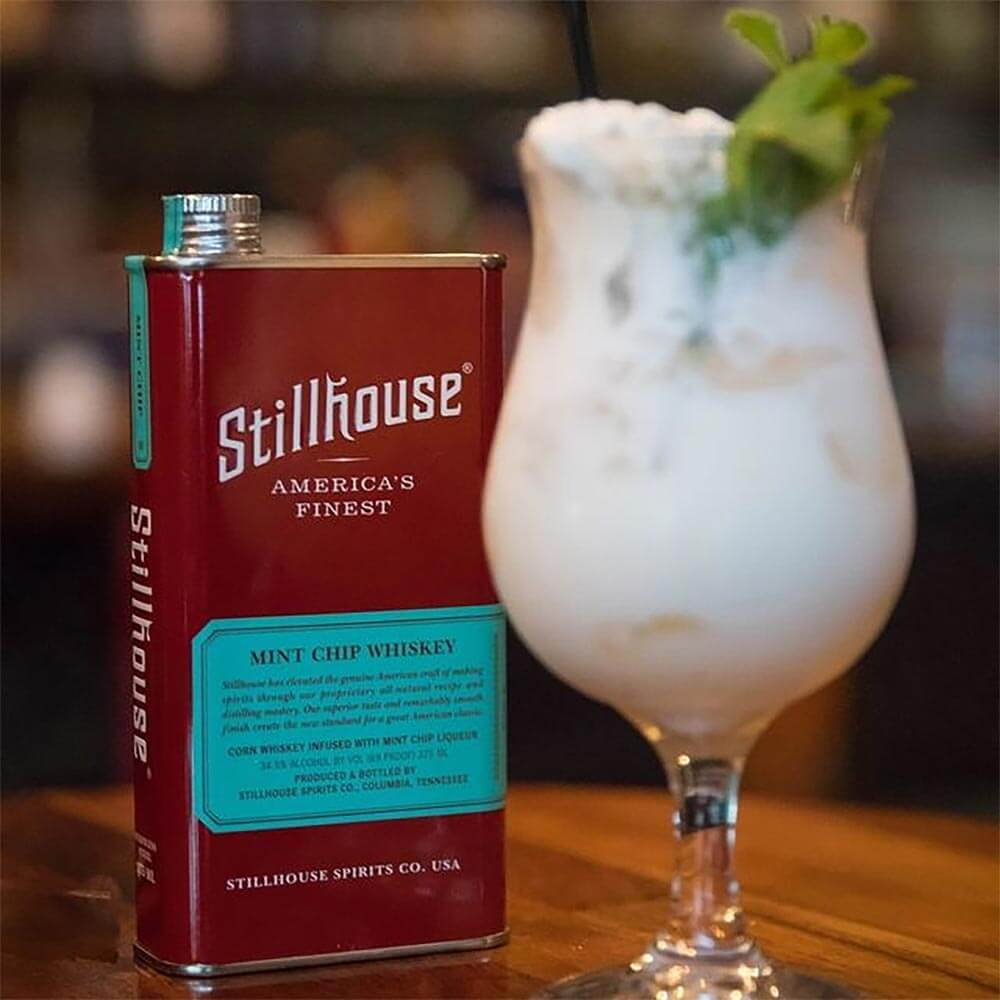 Stillhouse Mint Chip cocktail with flask