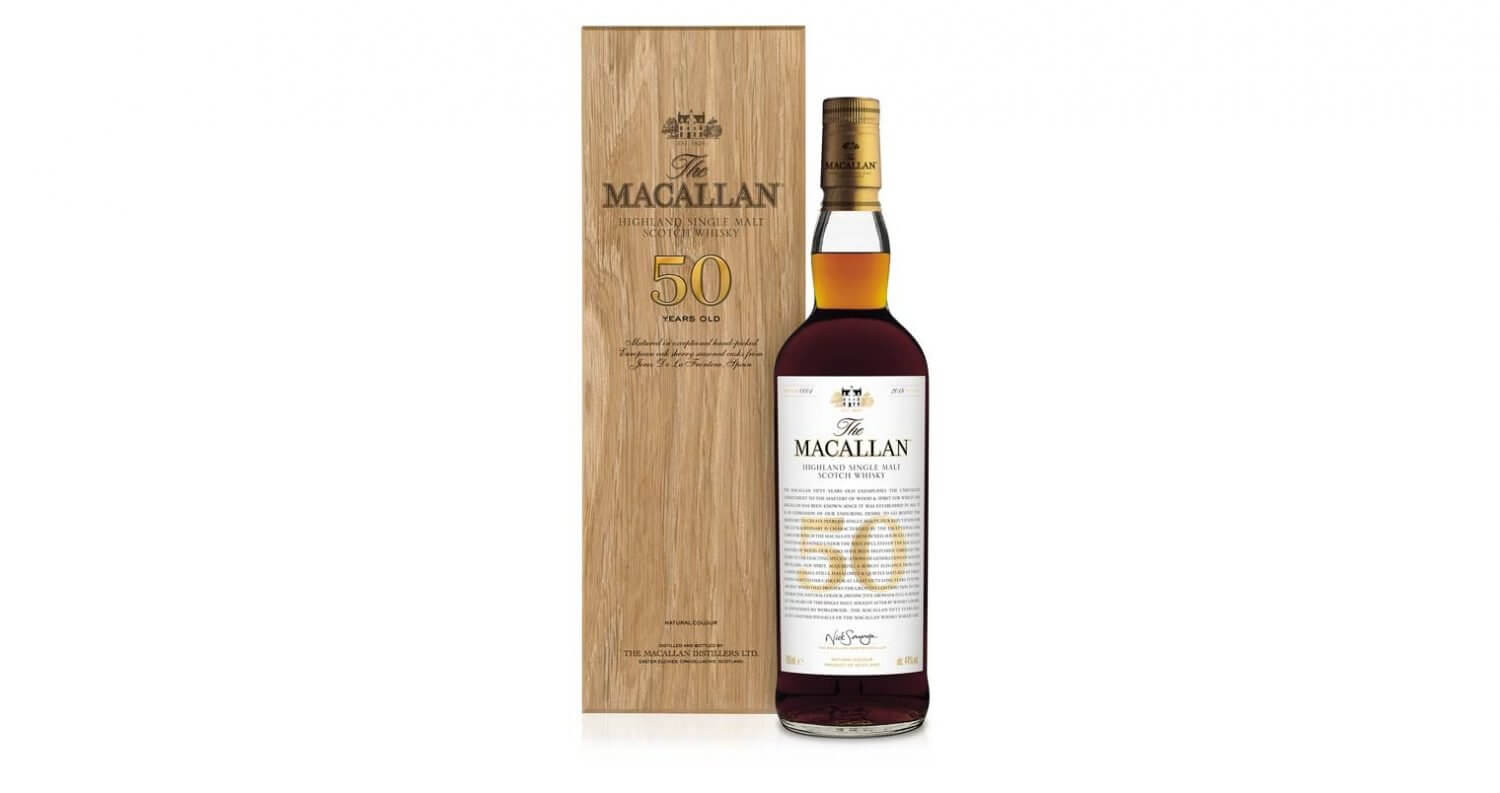 The Macallan 50 Years Old, bottle and package on white, featured image