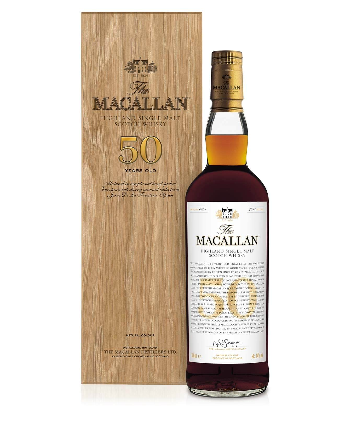 The Macallan 50 Years Old, bottle and package on white,