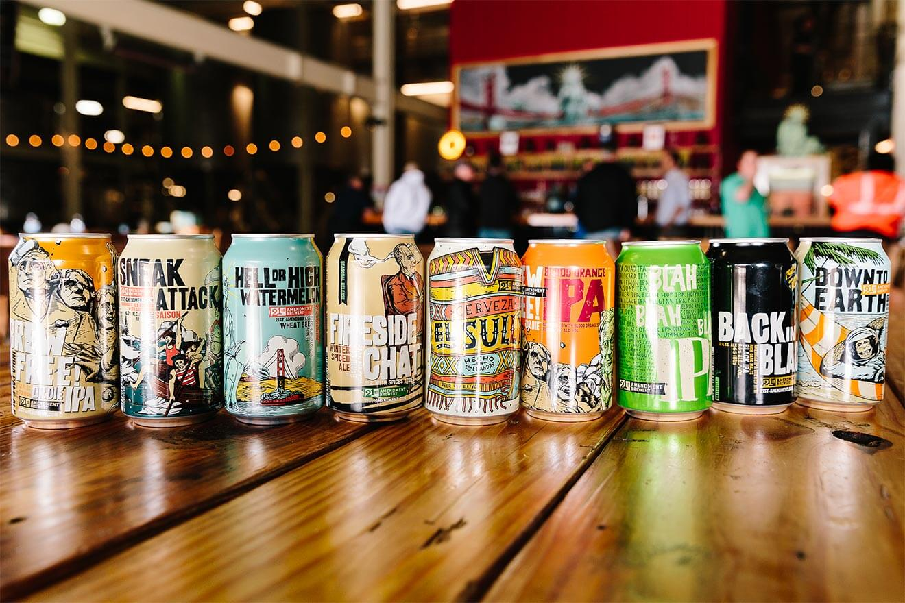 21st Amendment Brewery Lineup, cans on bar top