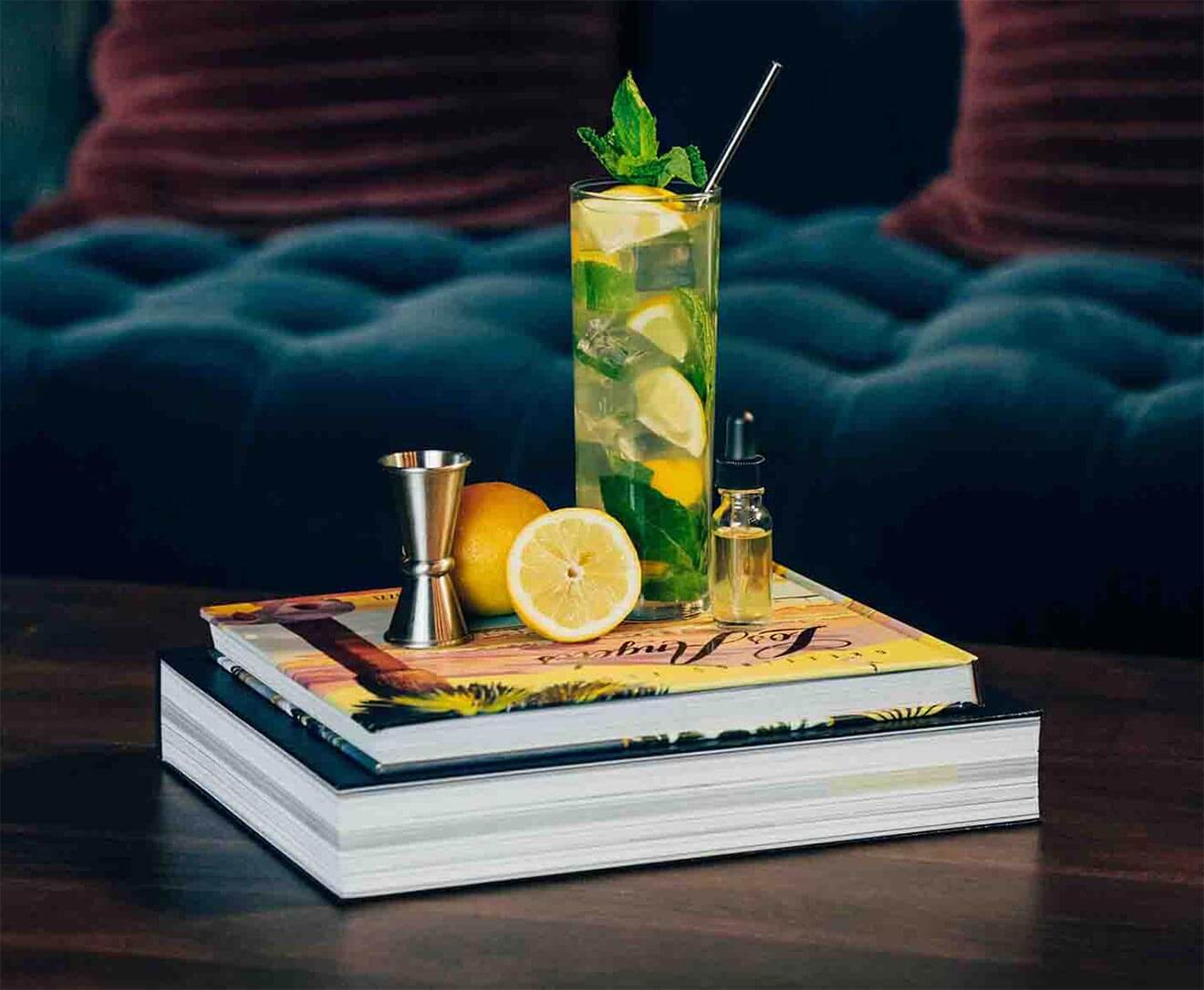 cb tea cocktail with garnishes